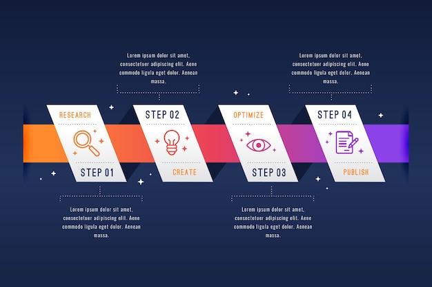 Infographic schrittdesign des flachen designs