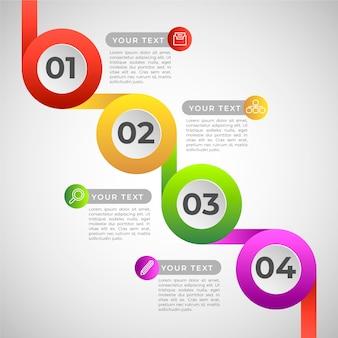 Infographic schritte der bunten steigung