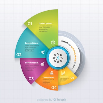 Infographic Schritte des bunten Geschäfts