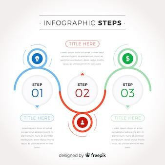 Infographic-schrittkonzept im flachen design