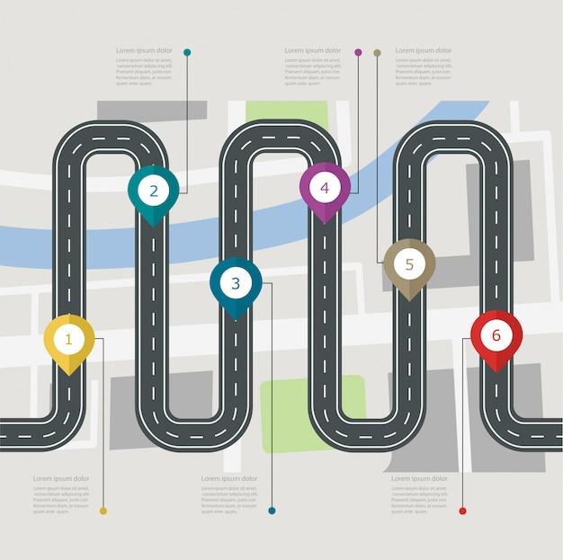 Infographic schrittweise struktur der straße mit stiftzeiger. navigation mit stadtplan