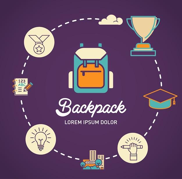 Infographic vektorauslegung des rucksacks
