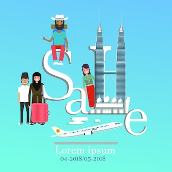 Infographic verkaufsbeschriftung und berühmte marksteine malaysias