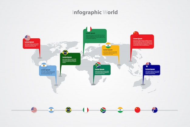 Infographic-weltkarteschablone, globales internationales flaggenzeichen