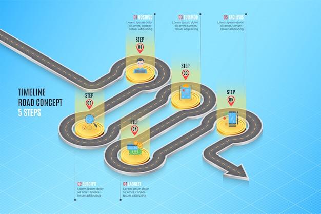Infographic zeitachsekonzept mit 5 schritten der isometrischen navigationskarte
