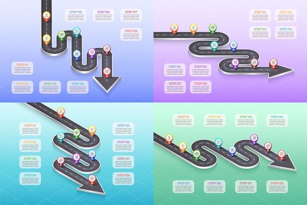 Infographic zeitachsekonzept mit 8 schritten der isometrischen navigationskarte.