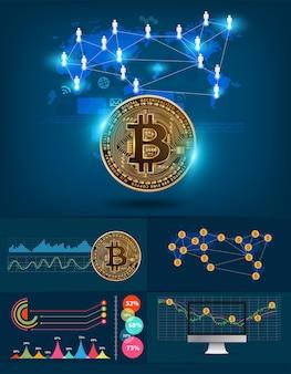 Infographics bitcoin digitale währung futuristische technologie netzwerk mit weltkarte