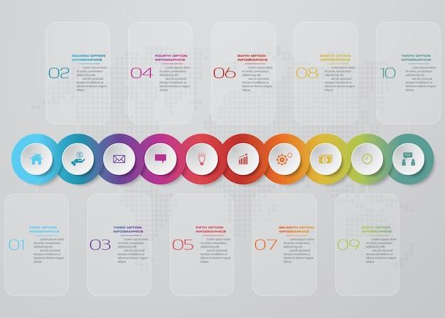 Infographics-design mit 10-schritte-timeline-präsentation.