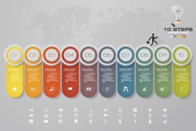 Infographics design mit 10 schritten zeitachse.