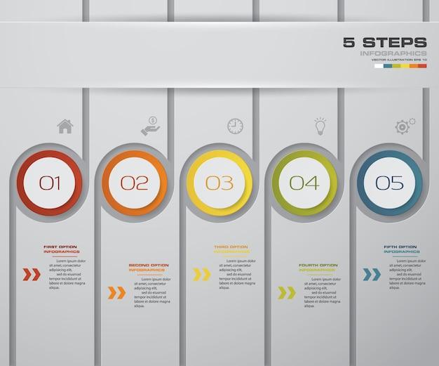 Infographics-design mit 5 schritten zeitachse diagramm.
