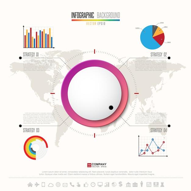 Infographics-designschablone mit den ikonen eingestellt