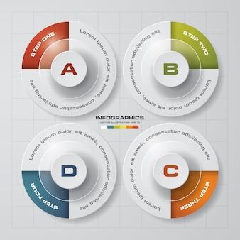 Infographics Diagrammschablone mit 4 Schritten.