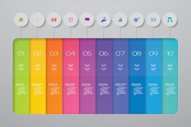Infographics element des abstrakten 10 schrittdiagramms.