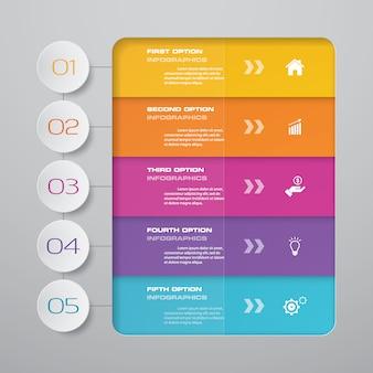Infographics-element des abstrakten diagramms mit 5 schritten.