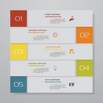 Infographics elementdiagramm mit 5 schritten zeitachse.
