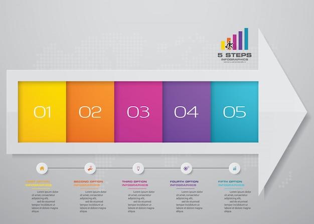 Infographics-elementpfeilvorlagendiagramm mit 5 schritten.