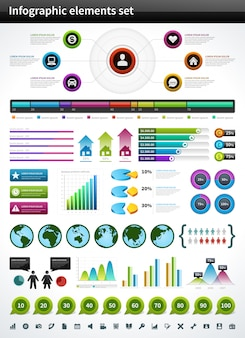Infographics-sammlungsvektordiagramm und diagrammgestaltungselemente und datenvisualisierungsikonen eingestellt.