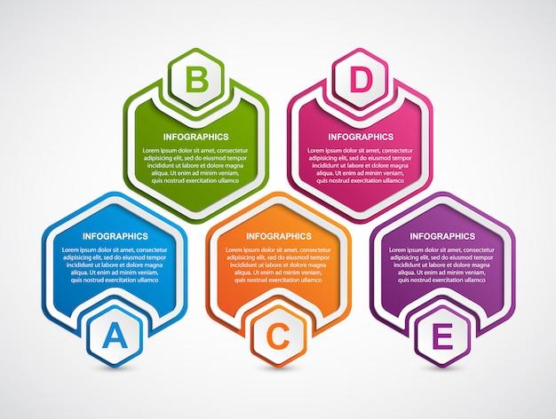 Infographics-vorlage für hexagon-geschäftsoptionen.