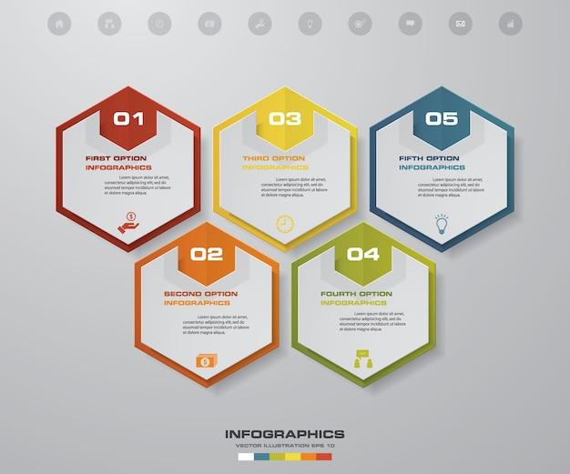 Infographics zeitachse mit 5 schritten für darstellung.
