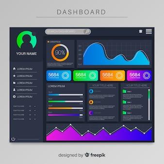 Infographik dashboard elemente sammlungsvorlage