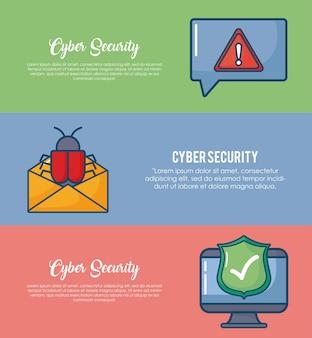 Infographik der cyber-sicherheit mit computer- und umschlagikone