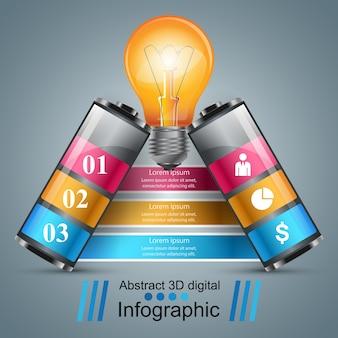 Infographik design. birne, batteriesymbol.