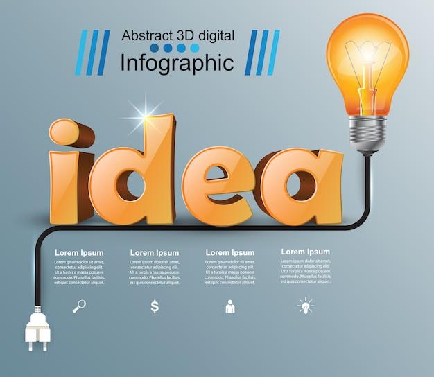 Infographik design. glühbirne symbol.