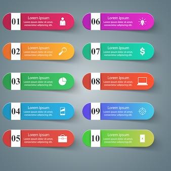 Infographik design. liste von 10 artikeln.
