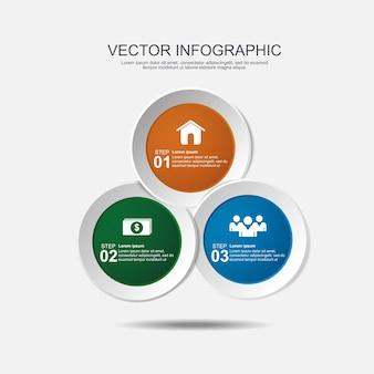 Infographik design mit 3 optionen kreisen