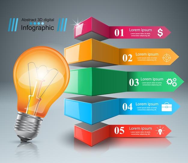 Infographik design mit glühbirne