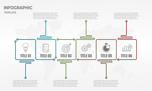Infographik designvorlage für die zeitachse mit 6 optionen