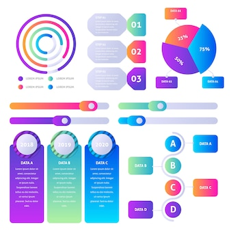 Infographik element farbverlaufspaket
