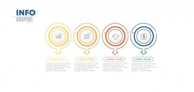 Infographik element mit 4 optionen oder schritten. kann für prozess, präsentation, diagramm, workflow-layout, infografik, webdesign verwendet werden.