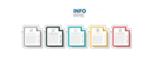 Infographik element mit 5 optionen oder schritten. kann für prozess, präsentation, diagramm, workflow-layout, infografik, webdesign verwendet werden.