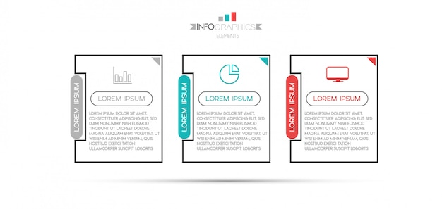 Infographik element mit symbolen und 3 optionen oder schritte.