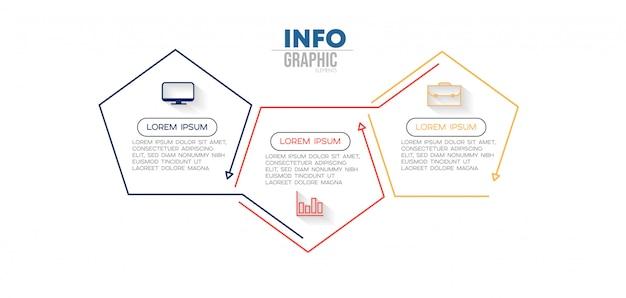 Infographik element mit symbolen und 3 optionen oder schritte