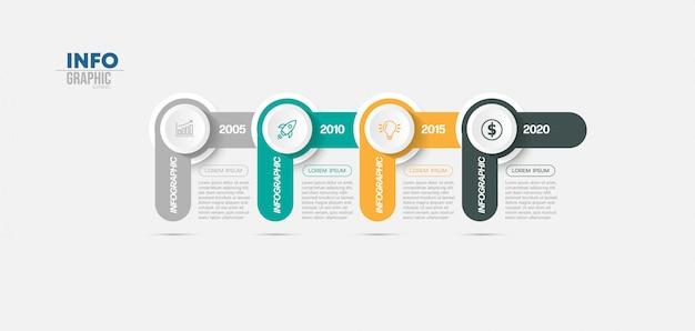 Infographik element mit symbolen und 4 optionen oder schritte.