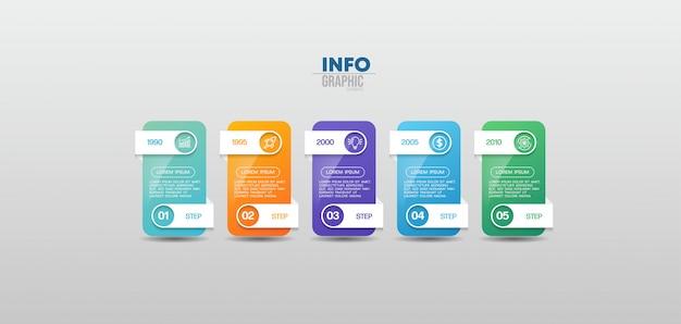 Infographik element mit symbolen und 5 optionen oder schritte. kann für prozess, präsentation, diagramm, workflow-layout, infografik, webdesign verwendet werden.