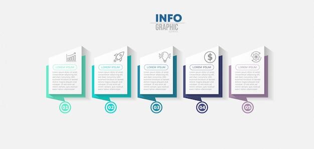 Infographik element mit symbolen und 5 optionen oder schritte