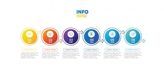 Infographik element mit symbolen und 6 optionen oder schritte