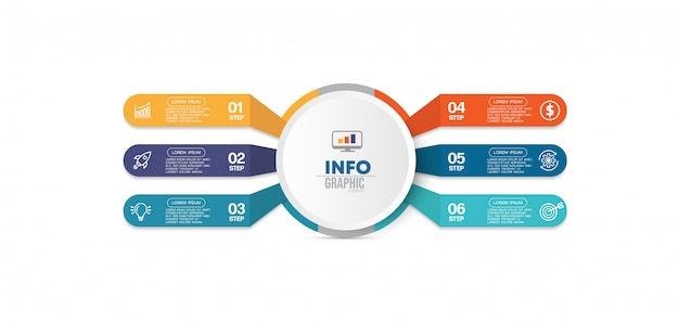 Infographik element mit symbolen und 6 optionen oder schritte.