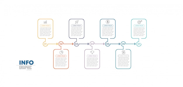 Infographik element mit symbolen und 7 optionen oder schritte.