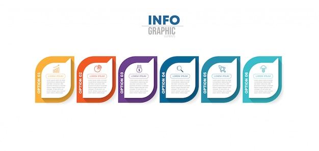 Infographik element mit symbolen und optionen oder schritten.
