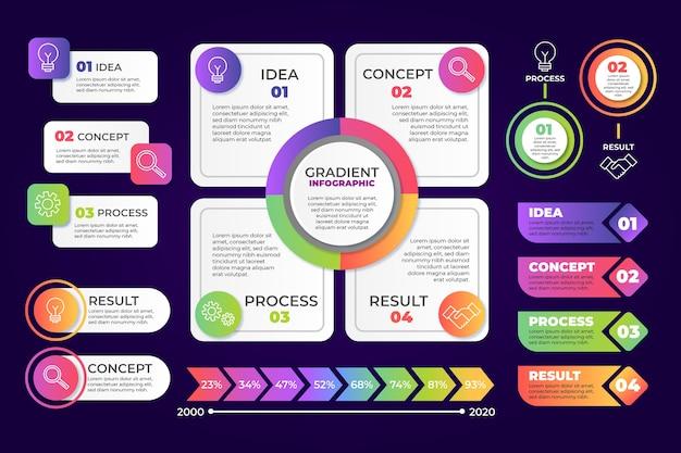 Infographik elemente farbverlaufssammlung