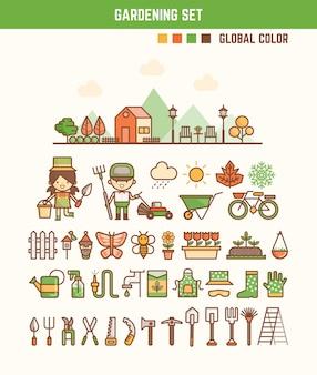 Infographik elemente für kinder über gartenarbeit