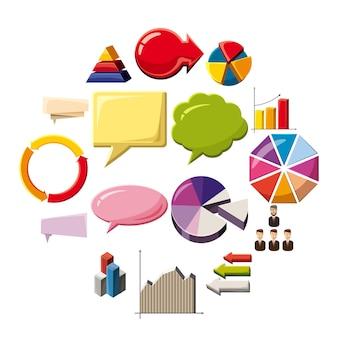 Infographik elemente icons set, cartoon-stil