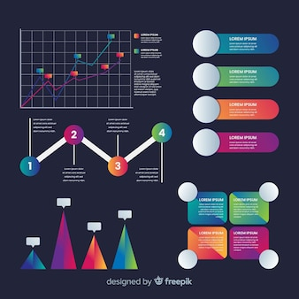 Infographik elemente mit farbverlauf