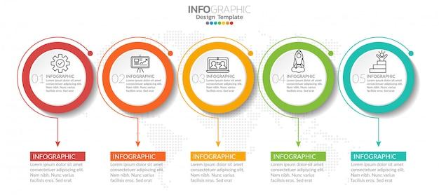 Infographik elemente mit symbol und option.