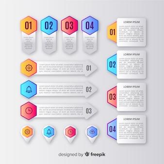 Infographik elementsammlung im farbverlauf stil