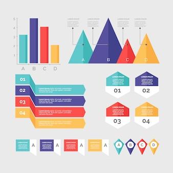 Infographik elementsammlung in flache bauform